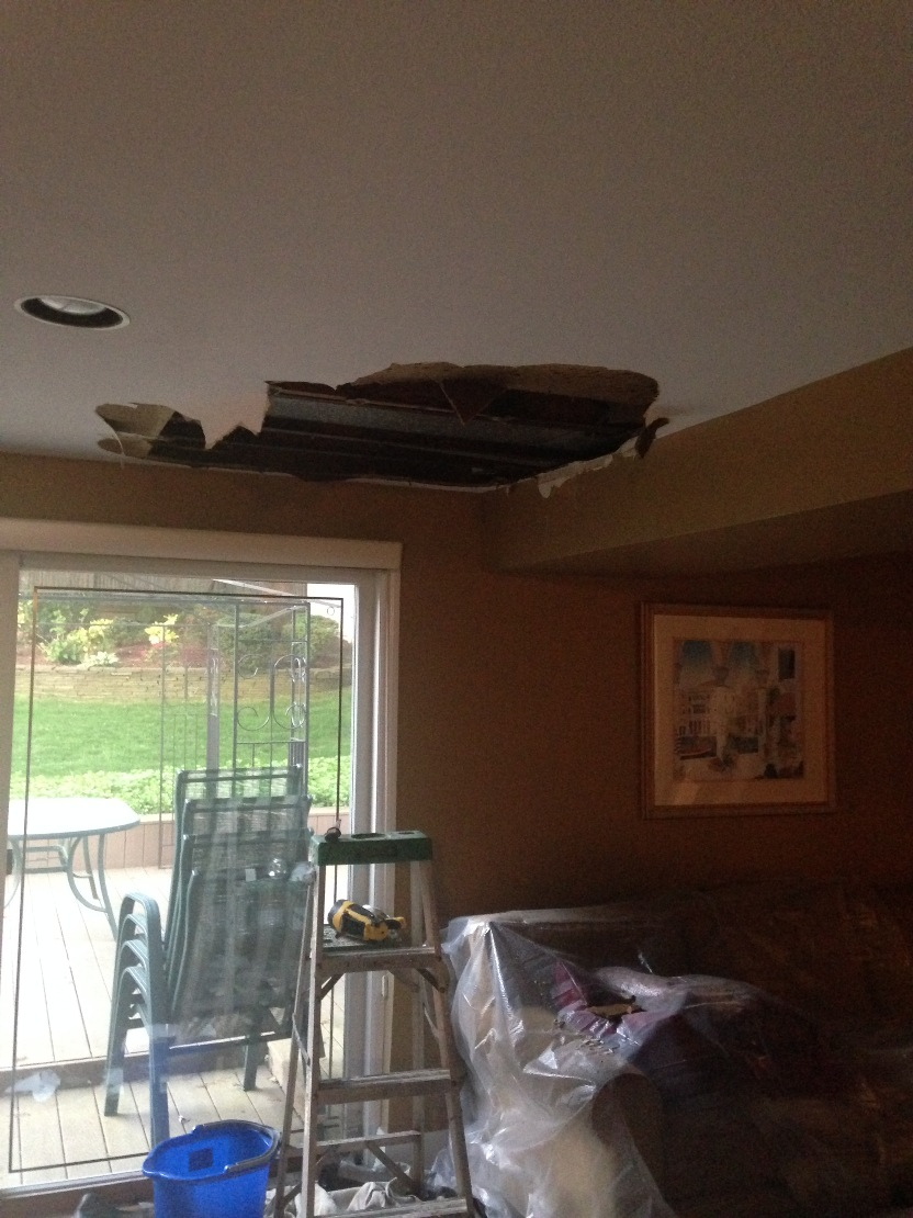 Ceiling water damage repair